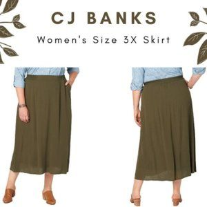 CJ Banks Green Crinkle Maxi Skirt with Pockets